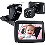 Itomoro Baby Car Mirror, View Infant in Rear Facing Seat with HD Night Vision Function Car Mirror Display, Reusable Sucker Br