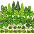 BLEBRDME 60 Pieces Model Trees 1.36-6 inch Mixed Model Tree Train Scenery Architecture Trees Trees for DIY Crafts, Building M