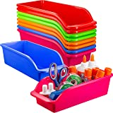 Zilpoo 10 Pack – Plastic Shelf Bins, Closet Shelves Organization Trays, Colorful Classroom Pencil, Crayon, School Supplies Dr
