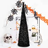 YUQI 5' Slim Black Tinsel Pop-Up Artificial Halloween Christmas Tree,Collapsible Pencil Halloween Christmas Trees Features Se