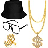 Hip Hop Costume Kit Bucket Hat Sunglasses Dollar Sign Gold Chain Ring 80s/90s Rapper Accessories