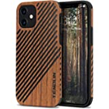 TENDLIN Compatible with iPhone 12 Case/iPhone 12 Pro Case Wood Grain Outside Design TPU Hybrid Case (Wood & Leather)