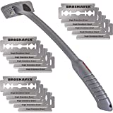 BRO SHAVER Back Hair Shaver, Uses Standard Double Edge (DE) Safety Razor Blades, Stainless Steel Bolts, Cheap refills, Blades
