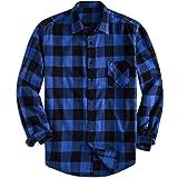 Yangxinyuan Men's Cotton Regular Fit Long Sleeve Plaid Flannel Casual Button Down Shirts