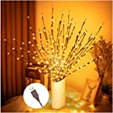 "3PK 30"" Brown Wrapped Lighted Twig Stake with 60 Warm White LED Bulbs Artificial Willow Lighted Branches for Easter Outdoor I"