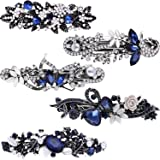 5 Pieces Crystal Rhinestones Hair Barrettes Flower Butterfly French Clip Vintage Spring Hair Clips Bridal Hair Jewelry for Wo