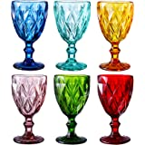 Colored Glass Drinkware 10 Ounce Water Glasses Multi Color Diamond Pattern Set of 6