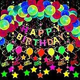 WILLBOND 33 Pieces Neon Birthday Glow Party Supplies Neon Birthday Banner Neon Balloon Banner Glow Swirl Decorations Fluoresc