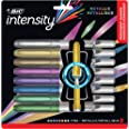 BIC Intensity Permanent Fine Point Markers - 8 Assorted Metallic Colours, Low Odour, Non Toxic, Snap Lock Cap, Non Slip Grip,