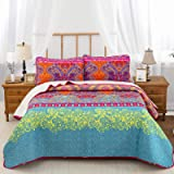 Bohemian Quilt Set Queen, 3 Pieces Boho Chic Pattern Printed Bedding Bedspread Coverlet for All Season, Soft Microfiber Boho