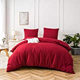 Quilt Cover Set 3-Piece Double Duvet Cover Set Plain Brushed Microfiber Bedding with 2 Pillowcases