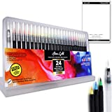 Linx and Gold WaterColor Brush Pens - 24 colors, 1 Blending Brush Pen and Palette in Travel case – Non Toxic Paint Brush Mark