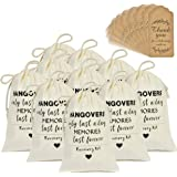 DÉCOCO 10 Wedding Favors Bachelorette Party Favor Hangover Kit Bags(4'' x 6'') and Gift Tags Hangovers Bag Cotton Drawstring