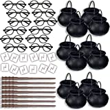 HeroFiber Wizard Party Favors for 12 - Includes Broom Pens, Cauldron, Glasses, and Lightning Scar Tattoos - Perfect for a Wiz