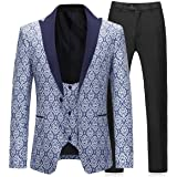 Boyland Mens 3 Pieces Tuxedo Suits Formal Wedding Peaked Lapel Blazer with Vest and Trousers Prom Tuxedo