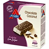Atkins Chocolate Coconut Bar, a Low Carb and Low Sugar Chocolate Snack Bar, 5 x 40 gram