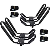 2 Pairs Kayak Rack J-Bar Car Roof Rack for Canoe Carrier SUP Paddle Surfboard Mount on Car SUV and Truck Crossbar, Includes 4