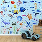 116 Pieces Under The Sea Wall Decals Jellyfish Wall Stickers Fish Ocean Wall Stickers Removable Peel and Sticks for Kids Baby