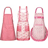 SATINIOR 3 Pieces Women Apron with Pockets Cute Vintage Cooking Apron Kitchen Housework Aprons for Christmas Thanksgiving Gif