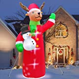 TURNMEON 7 Feet Christmas Inflatables Reindeer Holds Snowman Christmas Decorations Outdoor Built-in LED Lighted Blow Up Chris