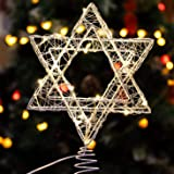 Star of David Hanukkah Christmas Rattan Tree Topper with Warm White LED String, Wire Weaving, Battery Powered, 7'' Star Tree