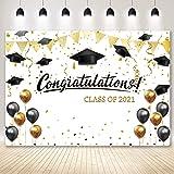 Negeek 7x5ft Soft Polyester Fabric 2021 Graduation Backdrop Party Supplies Black Gold Balloons Decorations Congrats Grad Phot