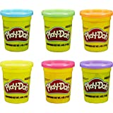 Play Doh Bundle of 6 Single Cans - 4 oz Each - Blue, Green, Orange, Yellow, Red, and Purple