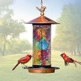 XDW-GIFTS Solar Bird Feeder for Outside Hanger Flip-Open Bird House for Outdoor Hanging LED Garden Light Mosaic Lamp Lantern