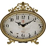 NIKKY HOME Pewter Vintage Table Clock 6.5 x 6Antique Gold