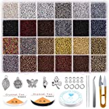 Yholin Glass Seed Beads Started Kit,19200pcs 2mm 12/0 Small Craft Beads with Jump Rings,Charms,Spacer Beads,Beading Needle,Tw