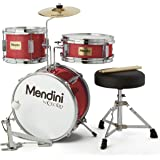 Mendini by Cecilio 13 inch 3-Piece Kids/Junior Drum Set with Throne, Cymbal, Pedal & Drumsticks, Metallic Bright Red, MJDS-1-