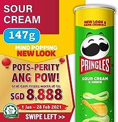 Pringles Galaxy Potato Chips, Sour Cream and Onion, 147g