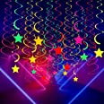 50 Pieces Glow Party Supplies Hanging Swirl Decorations Neon Star Swirl Hanging Decorations for Neon Party Glow Party Ceiling