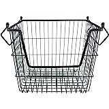 DII Stackable, Convenient Metal Storage Bin for Office, Bedroom, Kitchen, Closet, & Everyday Storage Needs, Black - Large