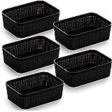 BINO Woven Plastic Storage Basket (Black, 5PK- XS)