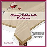 "LAMINET Heavy-Duty Deluxe Crystal Clear Vinyl Tablecloth Protector 54"" x 74"" - Oblong"