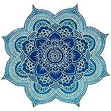 Popular Handicrafts Large Round Lotus Flower Mandala Tapestry-100% Cotton-Outdoor Beach Roundie-Hippie Gypsy Boho Throw Table