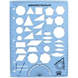 Learning Advantage Geometry Template - Sturdy Geometric Stencil to Draw 2D Shapes and Measure Angles - Includes Ruler plus a