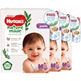 Huggies Platinum Naturemade M Pants + Free Huggies Pure Clean Wipes, 174 count (Pack of 3)