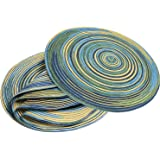 Braided Colorful Round Place mats Kitchen Dining Table Runner Heat Insulation Non-Slip Washable Set of 6
