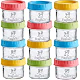 PandaEar (12 Pack) Glass Baby Food Storage Jars | 4 oz Reusable Small Containers Freezer Storage with Airtight Lids Leak Proo