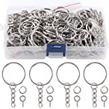 """Swpeet 450Pcs 1"""" 25mm Sliver Key Chain Rings Kit, Including 150Pcs Keychain Rings with Chain and 150Pcs Jump Ring with 150Pcs"""