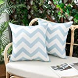 Woaboy Pack of 2 Decorative Outdoor Waterproof Throw Pillow Covers Wave Stripe Pillowcases Modern Outside Lumbar Cushion Case