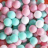 MoonxHome Ball Pit Balls Crush Proof Plastic Children's Toy Balls Macaron Ocean Balls 2.15 Inch Pack of 100 White&Pink&Green