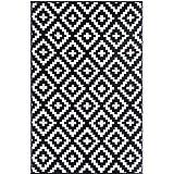 FH Home Indoor/Outdoor Recycled Plastic Floor Mat/Rug - Reversible - Weather & UV Resistant - Aztec - Black/White (3 ft x 5 f