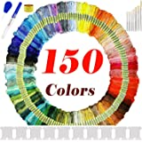 Wijavija 150pcs Embroidery Threads Set with 25 Sewing Tools Cross Stitch Threads Embroidery Sewing Floss Kit for DIY Crafts -