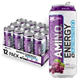 OPTIMUM NUTRITION ESSENTIAL AMINO ENERGY Plus Electrolytes Sparkling Hydration Drink, Grape, Keto Friendly BCAAs, 12 Count