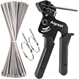 200PCS Metal tie wrap gun Kit, Aigreat Stainless Steel Cable Tie Gun Adjustable Tensioning and Cutting Tool with 200pcs 304 S