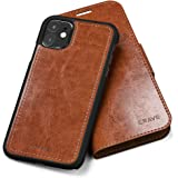iPhone 11 Leather Wallet Case, Crave Vegan Leather Guard Removable Case for Apple iPhone 11 - Brown