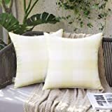 MIULEE Pack of 2 Outdoor Waterproof Throw Pillow Covers Retro Checkers Plaids Pillowcases Decorative Cushion Cases for Patio